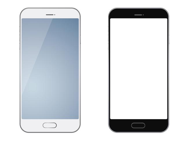Set of two smartphones isolated on white background.