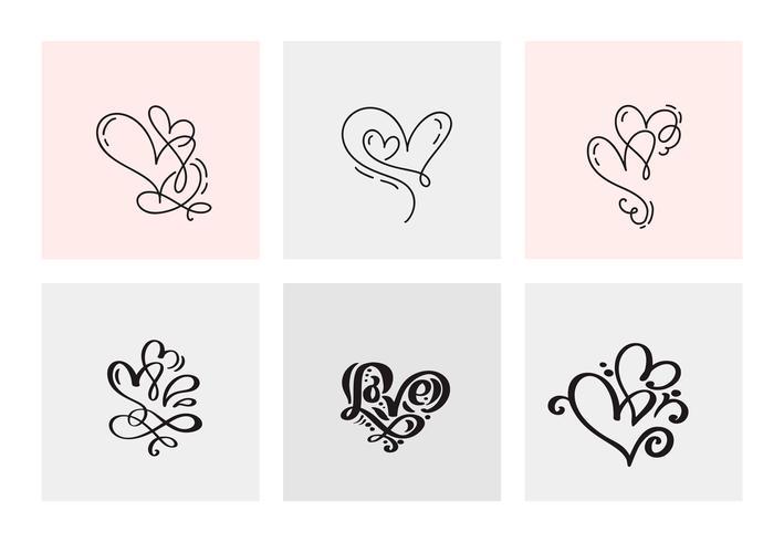 Un insieme di sei cuori calligrafici disegnati a mano di giorno di biglietti di S. Valentino d'annata di vettore. Illustrazione lettering calligrafia. Holiday Design San Valentino. Icona love decor per web, matrimonio e stampa. Isolato
