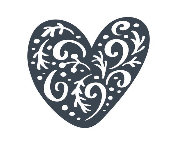 Handdraw skandinaviska julhjärta med prydnad blomstra vektor ikon silhuett. Enkel present kontur symbol. Isolerat på vit webbskylt kit av stiliserad gran bild