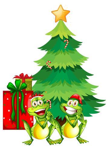 Tema navideño con dos ranas y árbol de navidad.