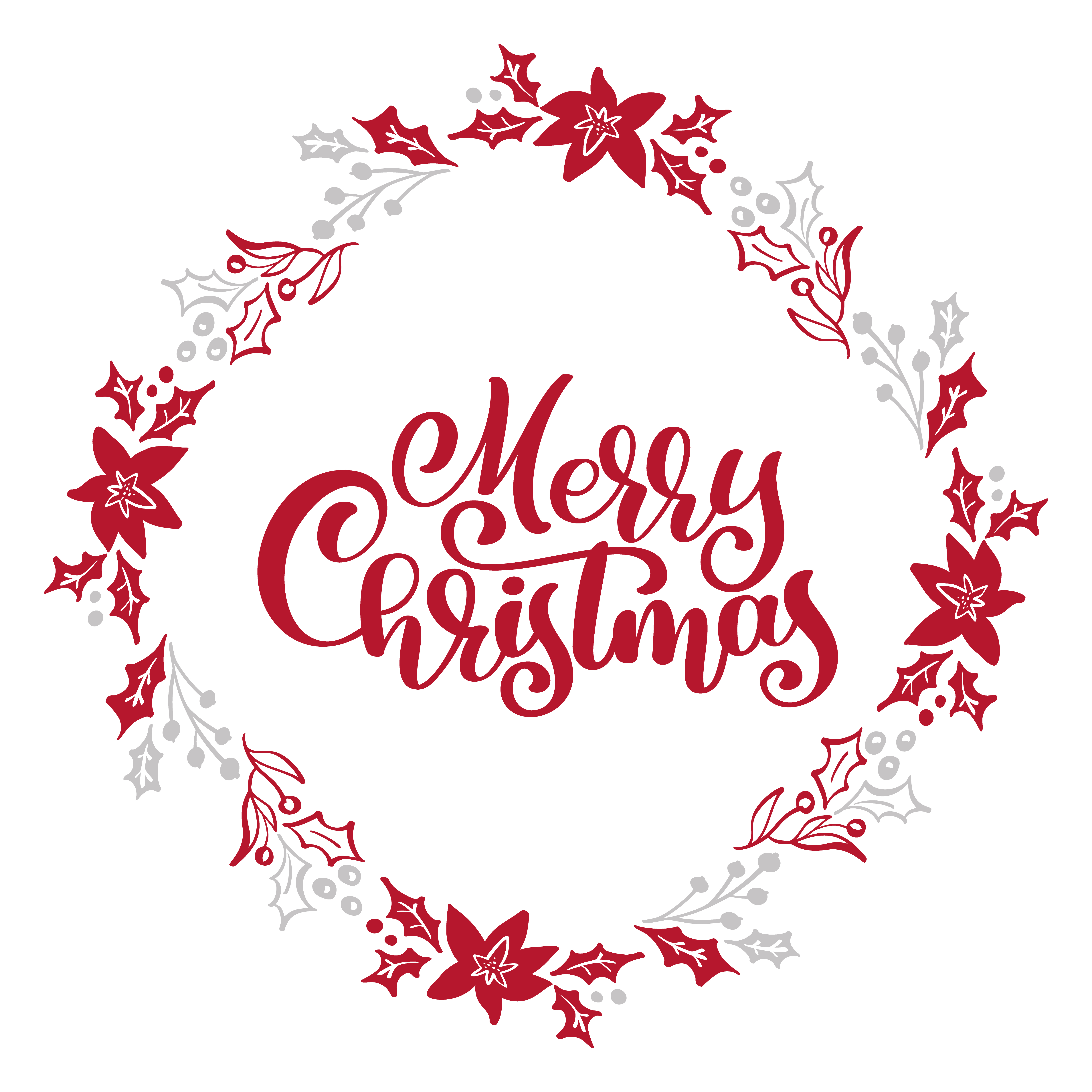 merry christmas calligraphy vector text in xmas floral