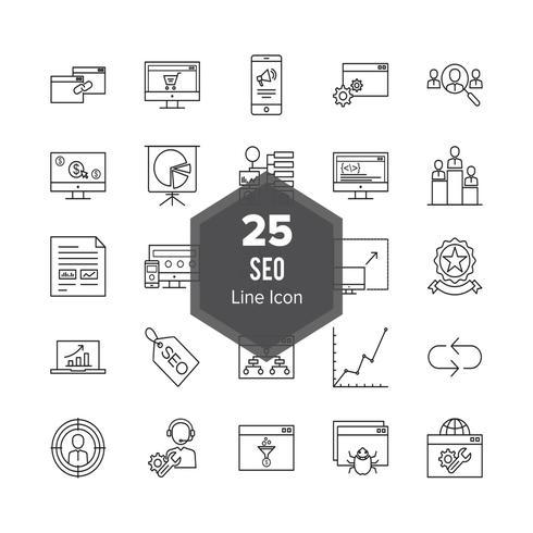 Ensemble d'icônes de ligne d'optimisation de moteur de recherche SEO