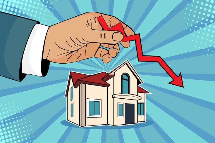 Caindo nos preços das casas. O homem está mantendo a seta verde em sua mão em cima da casa.
