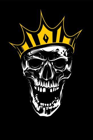 Crâne blanc en couronne d'or sur fond noir