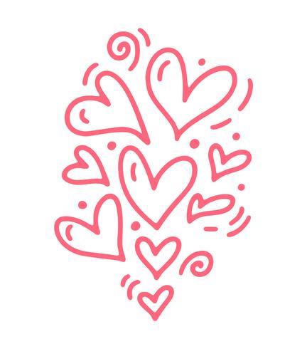 Monoline schattig roze verschillende grootte harten. Vector Valentijnsdag Hand getrokken pictogram. Vakantie schets doodle Ontwerp element valentijn. liefdes decor voor web, bruiloft en print. Geïsoleerde illustratie