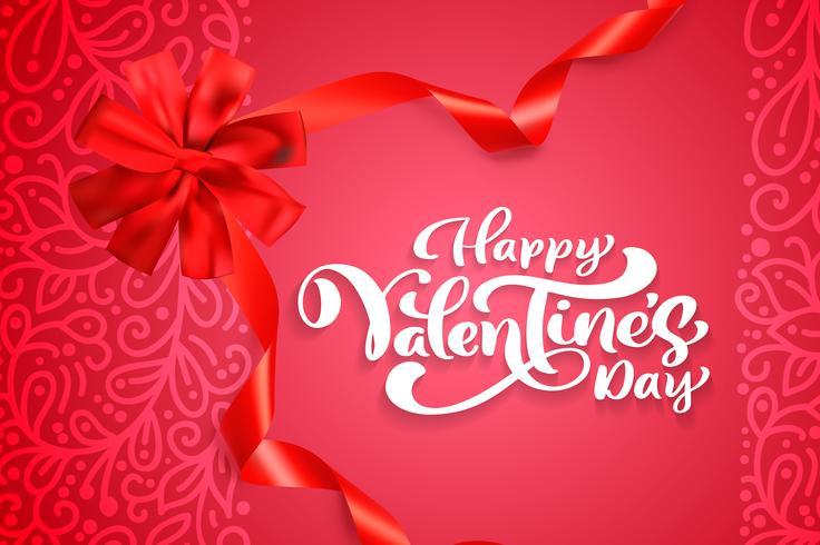 Vector texto feliz dia dos namorados tipografia design para cartão e cartaz. Citações do Valentim em um fundo vermelho dos feriados. Ilustração de celebração de modelo de design