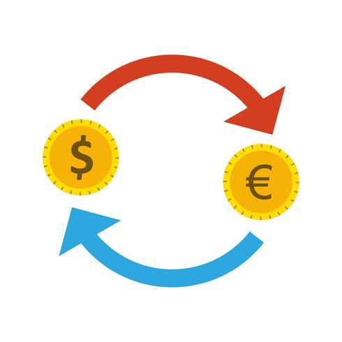 Wissel Euro met Dollar Vector Icon