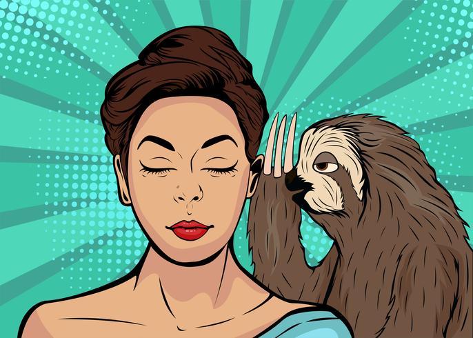 Sloth viskar till tjejen. Tecknad film komisk vektor illustration i popkonst retro stil.