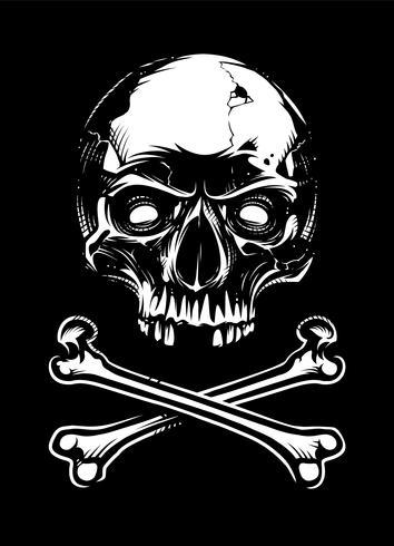 Crânio branco com ossos no fundo preto