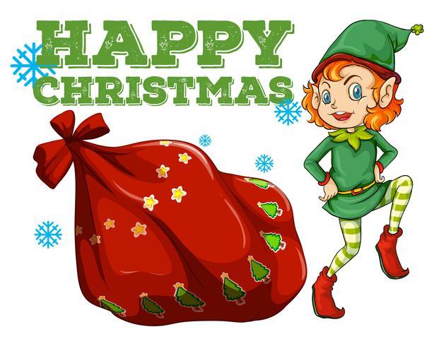 Christmas theme with elf and present bag