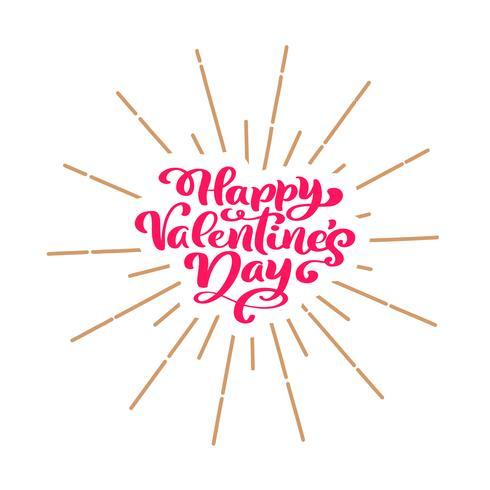 Cartel feliz de la tipografía del día de tarjetas del día de San Valentín con el texto manuscrito de la caligrafía, aislado en el fondo blanco. Ilustracion vectorial