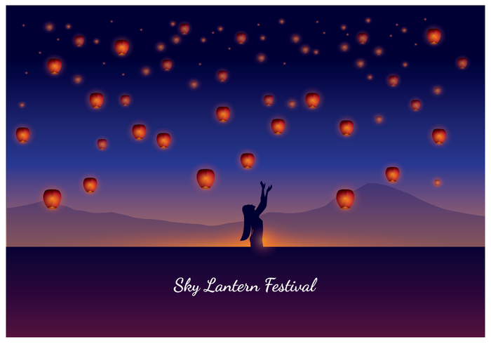 A Woman on Taiwan Sky Lantern Festival vector