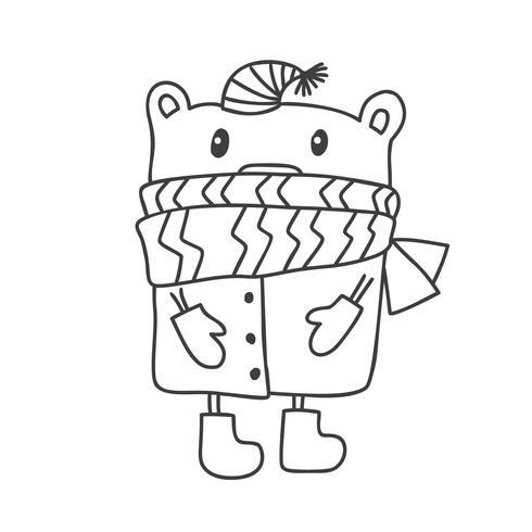 Dé el ejemplo exhausto del vector de un oso divertido lindo del invierno en una bufanda y un sombrero. Diseño de estilo escandinavo navideño. Objetos aislados en el fondo blanco. Concepto para ropa infantil, estampado infantil.