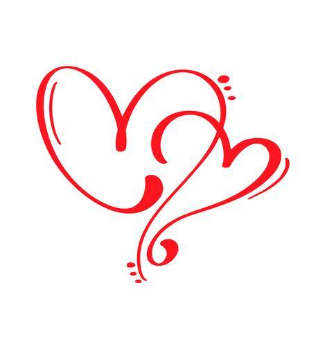 Casal vermelho vetor dia dos namorados mão desenhada caligráfica dois corações. Dia dos namorados de elemento de Design de férias. Decoração de amor de ícone para web, casamento e impressão. Isolado, caligrafia, lettering, ilustração