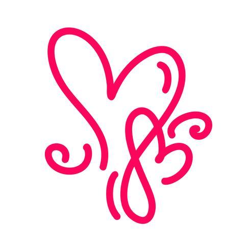 Casal monoline vermelho vetor dia dos namorados mão desenhada caligráfica dois corações. Caligrafia letras ilustração. Dia dos namorados de elemento de Design de férias. Decoração de amor de ícone para web, casamento e impressão. Isolado