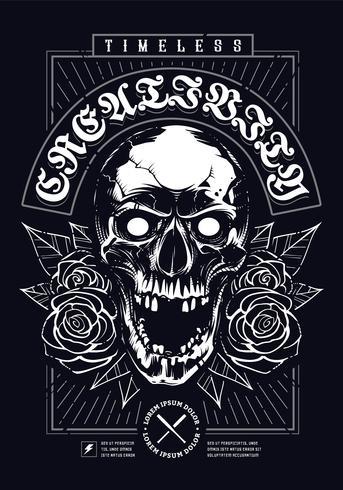 Schedel met rozen Grunge Print ontwerp