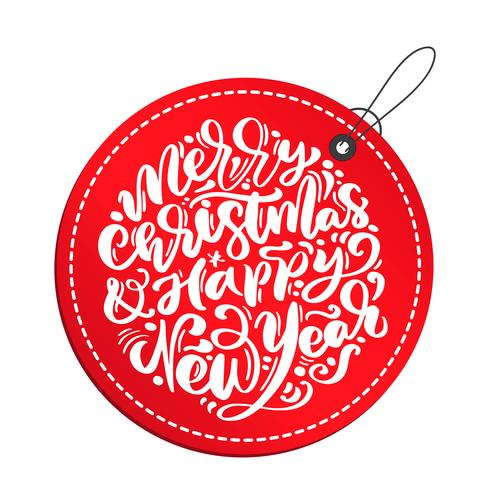 Merry Christmas and Happy New Year calligraphy vector lettering text in red tag. xmas scandinavian greeting card. Isolated objects
