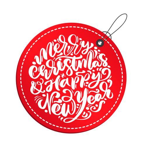 La caligrafía de la Feliz Navidad y de la Feliz Año Nuevo vector el texto de las letras en etiqueta roja. tarjeta de felicitación de Navidad escandinavo. Objetos aislados