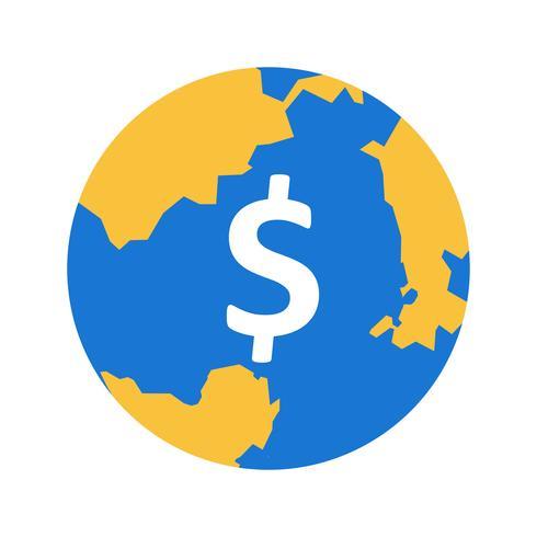 Wereld geld vector pictogram