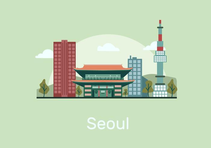 Seoul landmärke byggnad vektor platt illustration