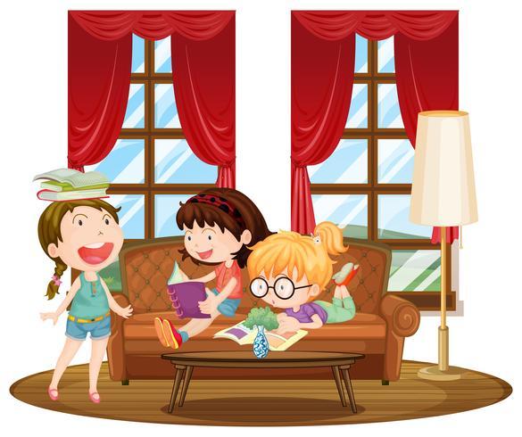Tre ragazze che leggono libri in salotto