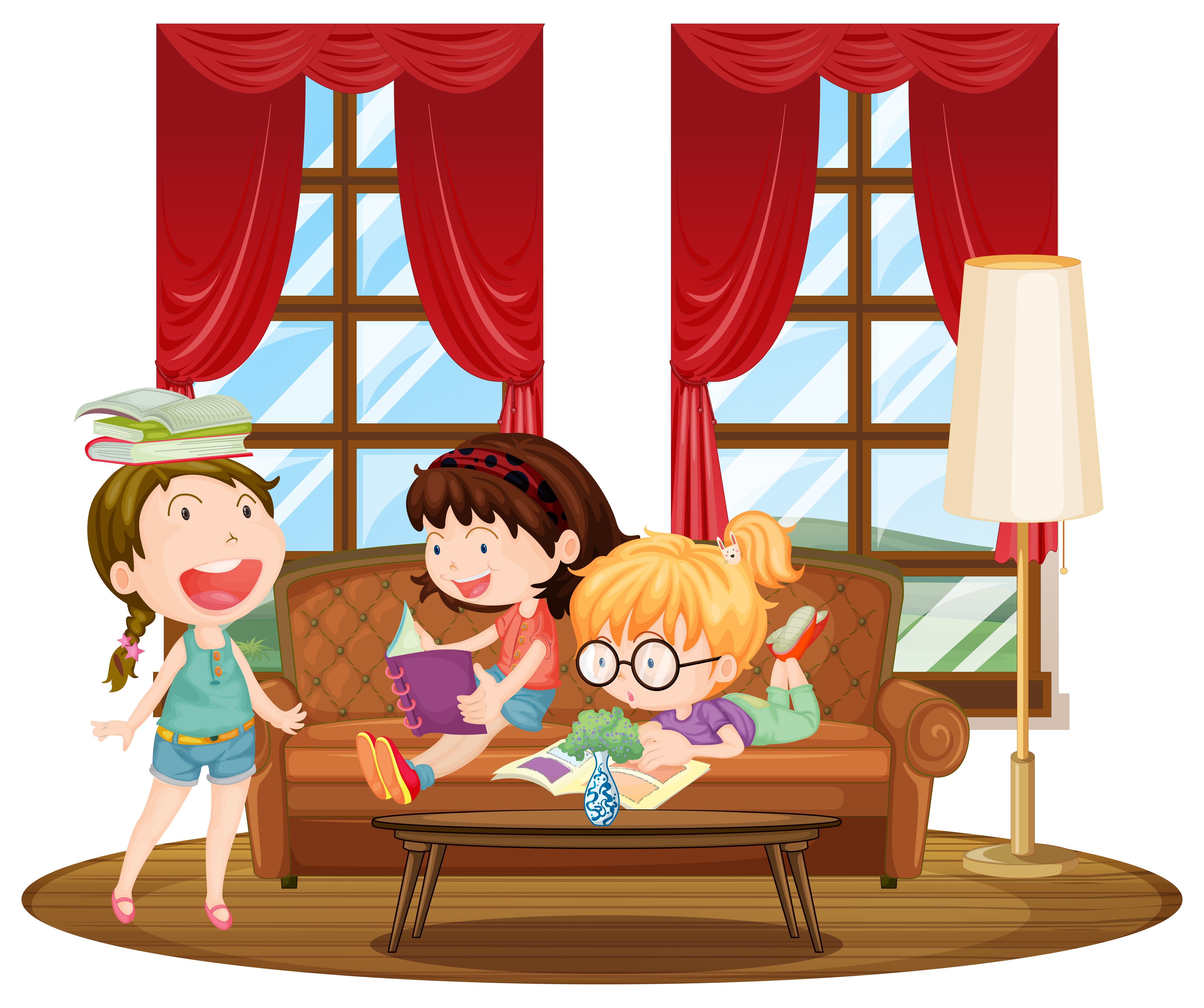 Three girls reading books in living room - Download Free ...