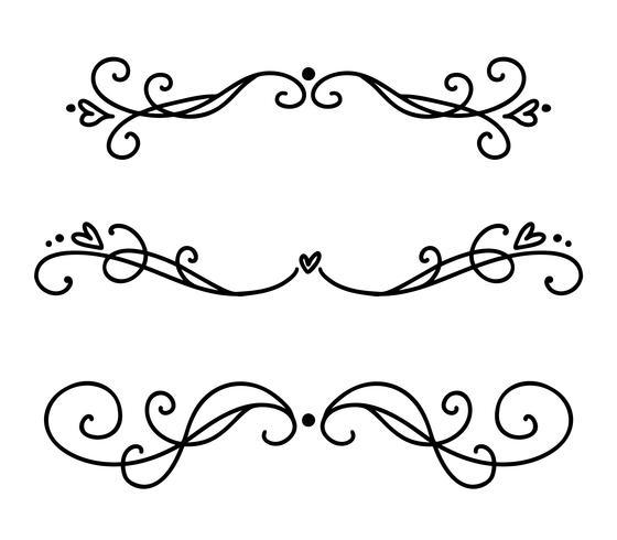 Vector vintage linea eleganti divisori e separatori, turbinii e angoli ornamenti decorativi. Linee floreali elementi di design in filigrana. Elementi ricciolo Flourish per l'invito o l'illustrazione della pagina del menu