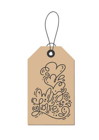 Vector monoline calligraphy phrase My Love on kraft tag. Isolated Valentines Day Hand Drawn lettering illustration. Heart Holiday sketch doodle design valentine card. love decor for web, wedding and print