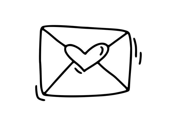 Busta monoline vettoriale. Icona disegnata a mano di San Valentino. Doodle di schizzo di cuore vacanza Design elemento San Valentino. amo l'arredamento per il web, il matrimonio e la stampa. Illustrazione isolato