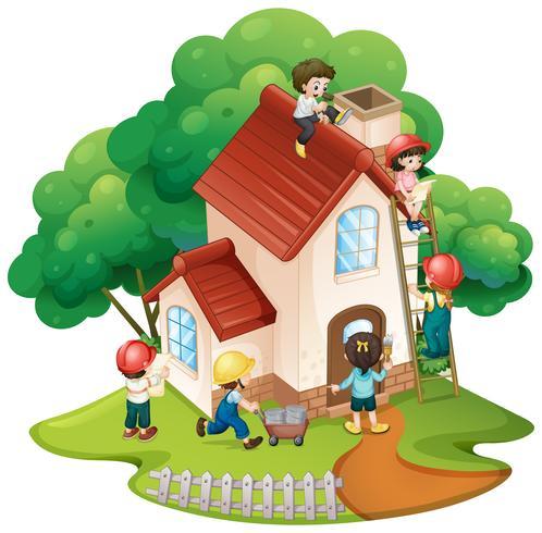 Bambini che costruiscono casetta