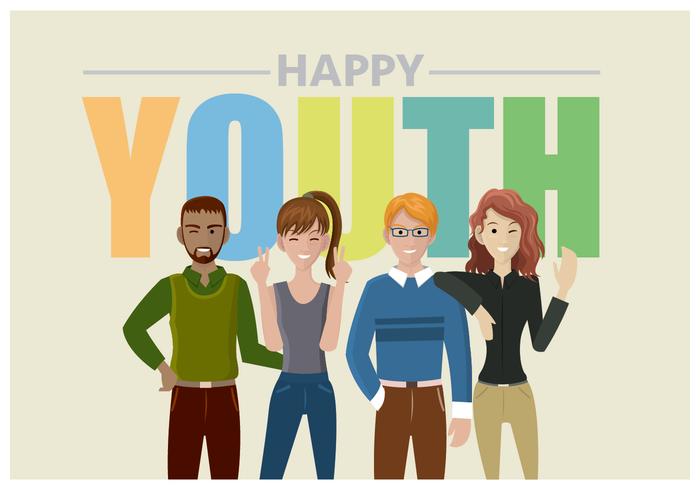 Vier Jugendlicher glücklicher Jugendgruß