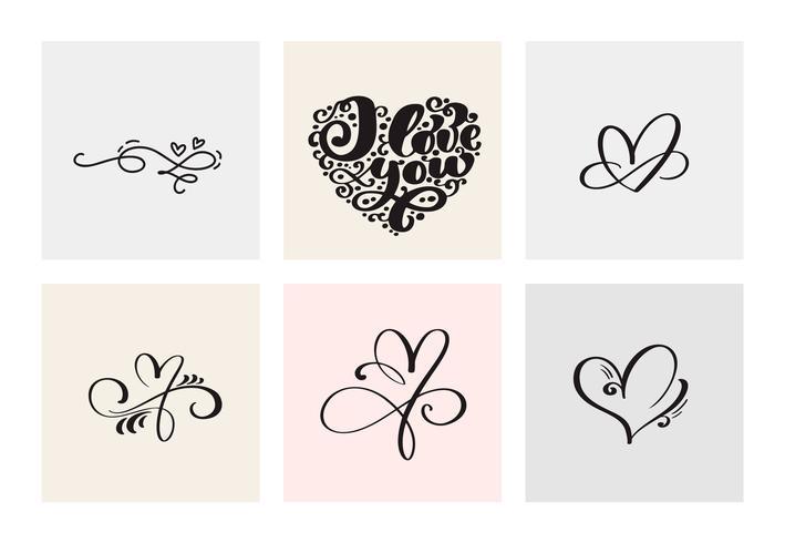 Conjunto de seis corazones caligráficos dibujados a mano vintage vector día de San Valentín. Ilustración de letras de caligrafía. Diseño de vacaciones de san valentín. Icono de decoración de amor para web, boda e impresión. Aislado