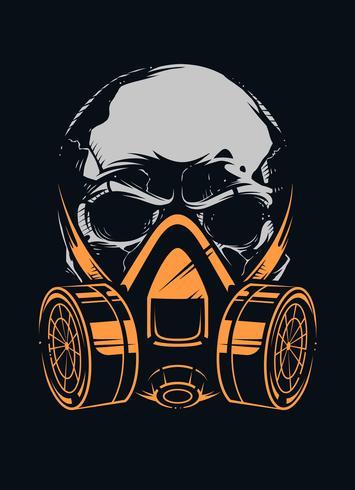 Crâne avec respirateur sur fond noir