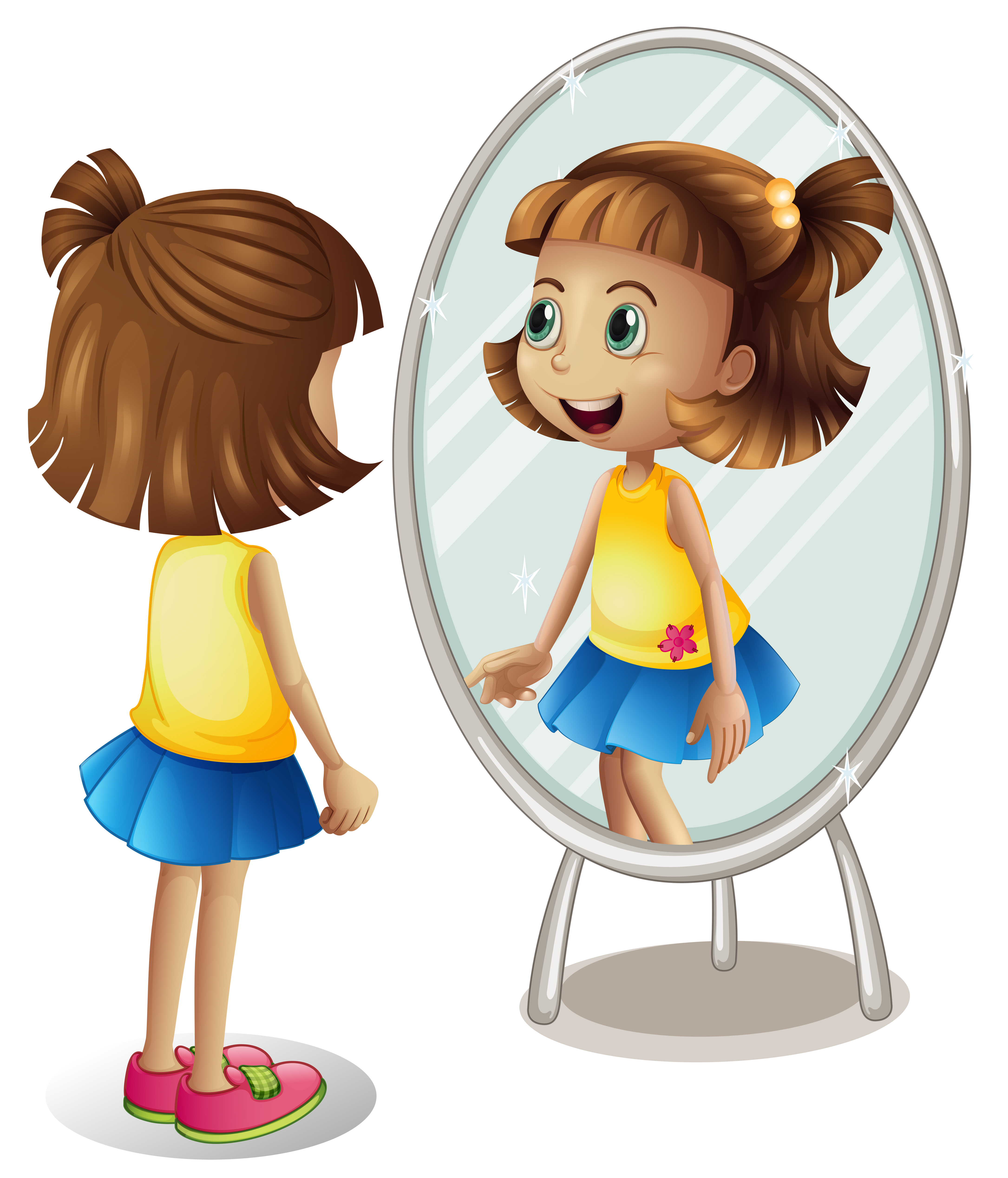 Little Girl Looking At Herself In Mirror Download Free