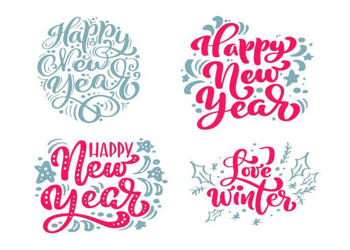 Ställ Gott Nytt År Vektor Text Kalligrafisk Lettering God jul design kortmall. Kreativ typografi för Holiday Greeting Gift Poster. Calligraphy Font Style Banner