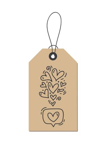 Vector monoline calligraphy flourish hearts like about Love on kraft tag. Isolated Valentines Day Hand Drawn lettering illustration. Heart Holiday sketch doodle design valentine card. love decor for web, wedding and print
