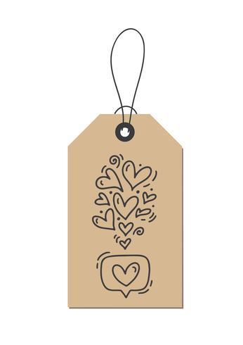 Vektor monolin kalligrafi blomstra hjärtan som om kärlek på kraft taggen. Isolerad Valentinsdag Hand Dragad bokstäver illustration. Hjärtferie skissa klotter design valentinkort. kärleksdekoration för webben, bröllop och tryck