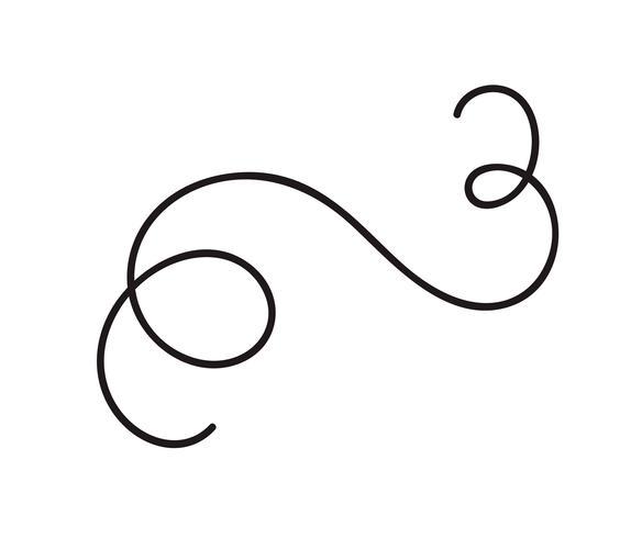 Handritad monolin kalligrafi skandinavisk folk blomstra vektor divider. Designelement för bröllop och Alla hjärtans dag, födelsedag hälsningskort
