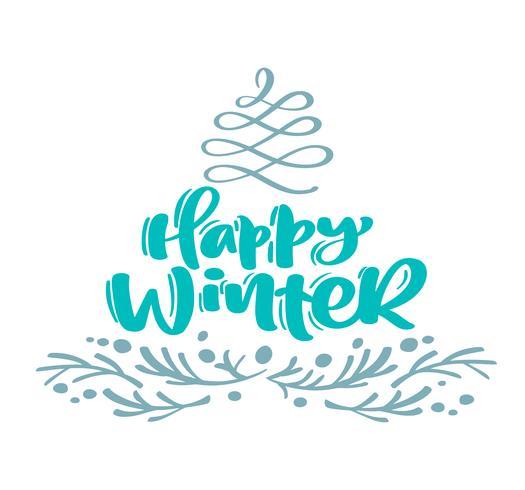 Felice inverno natale calligrafia lettering testo. La cartolina d'auguri scandinava di natale con l'illustrazione disegnata a mano di vettore fiorisce l'albero di abete ed i rami stilizzati. Oggetti isolati
