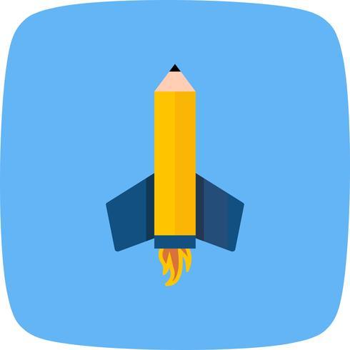 Icône de vecteur fusée crayon