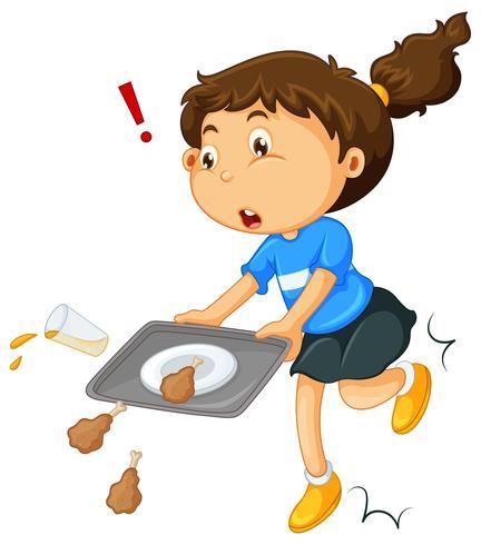 Chica dejando caer la comida en el suelo