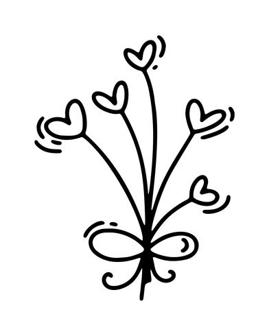 Vectormonolinebloemen met harten. Valentijnsdag Hand getrokken pictogram. Vakantie schets doodle Ontwerp plant element valentijn. liefdes decor voor web, bruiloft en print. Geïsoleerde illustratie