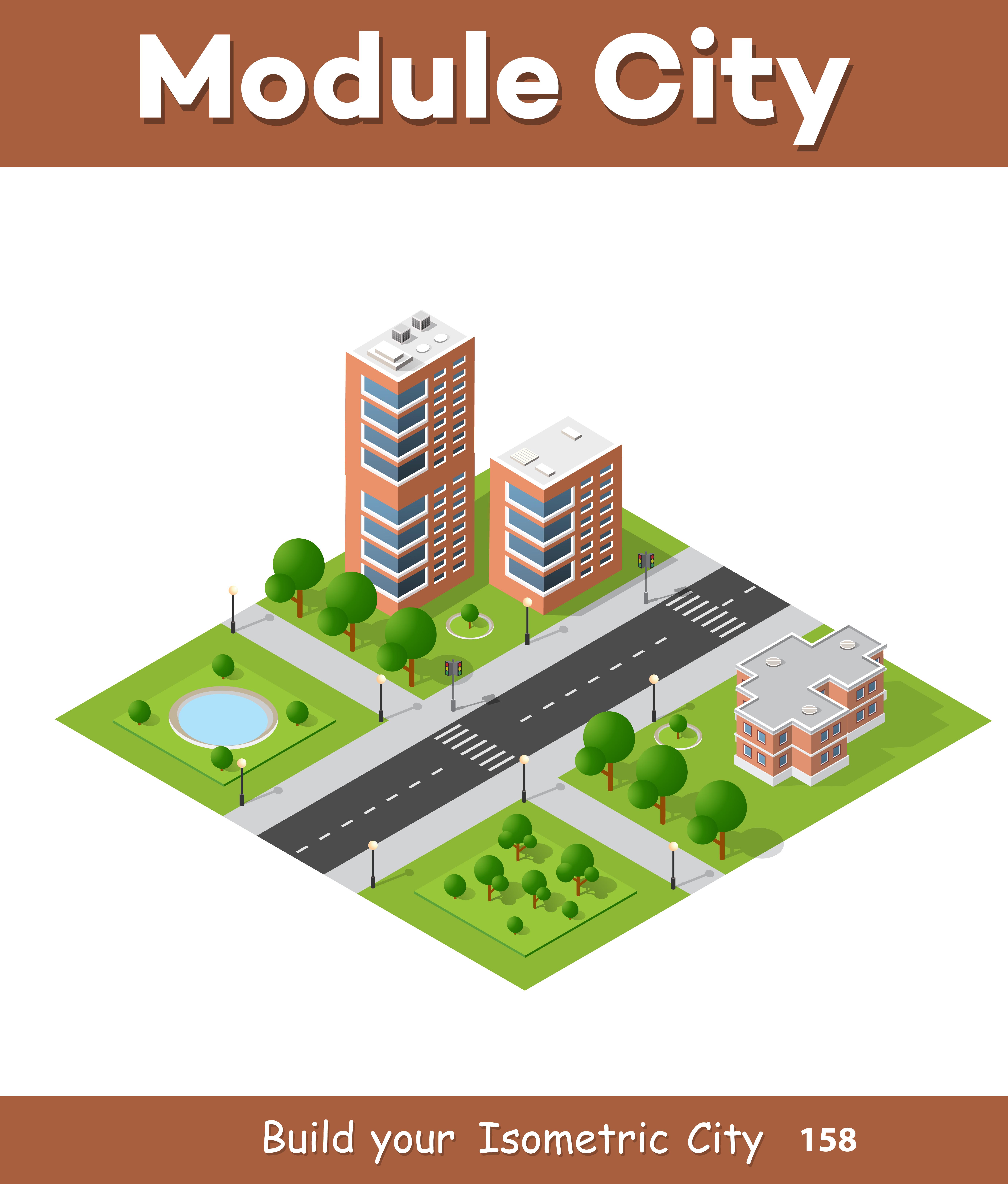 City quarter top view landscape isometric 3d projection for Home design 3d professional italiano gratis