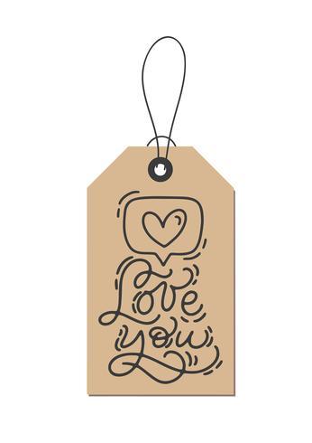 Vektor monoline kalligrafi fras Älska dig på kraft taggen. Isolerad Valentinsdag Hand Dragad bokstäver illustration. Hjärtferie skissa klotter design valentinkort. kärleksdekoration för webben, bröllop och tryck