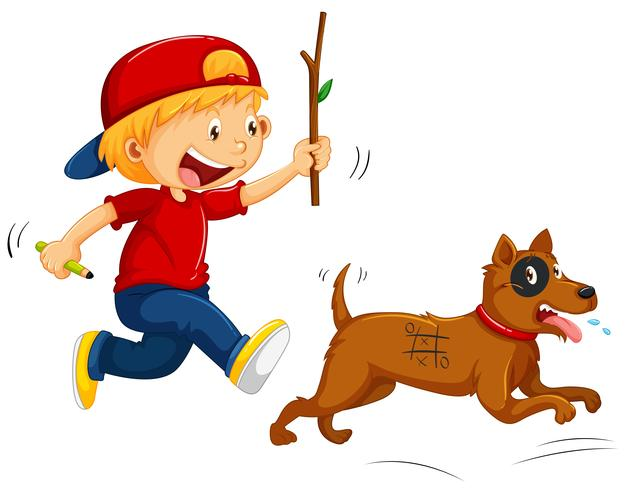 Garçon taquinant petit chien