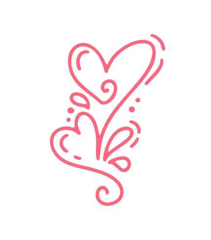 Casal monoline vermelho vetor dia dos namorados mão desenhada caligráfica dois corações. Dia dos namorados de elemento de Design de férias. Decoração de amor de ícone para web, casamento e impressão. Isolado, caligrafia, lettering, ilustração