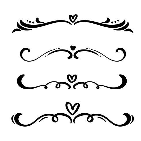 Vector vintage línea de elegantes divisores y separadores, remolinos y adornos decorativos esquinas. Líneas florales de elementos de diseño en filigrana. Elementos de rizo florecientes para invitación o ilustración de página de menú