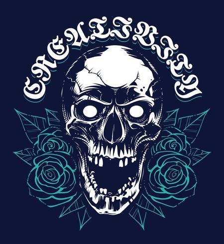 Skalle med rosor Grunge Print Design