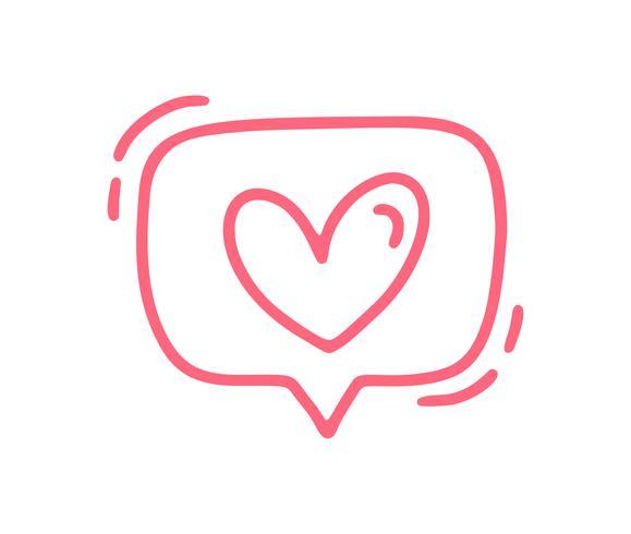 Vektor röd monoline söt textbubbla med hjärta. Valentinsdag Hand Drawn ikon. Holiday sketch doodle Designelement valentin. kärleksdekoration för webben, bröllop och tryck. Isolerad illustration