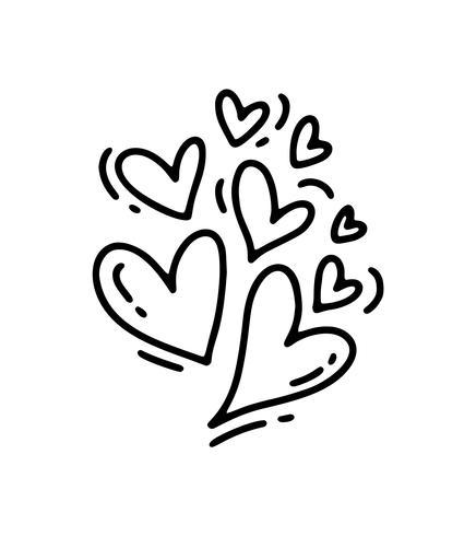 Monoline lindo tamaño diferentes corazones. Día de San Valentín vector icono dibujado a mano. Día de fiesta del bosquejo del doodle del elemento del diseño. Decoración de amor para web, bodas y estampados. Ilustración aislada